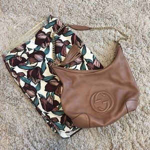 GUCCI Pebbled Leather Soho Chain Shoulder Bag